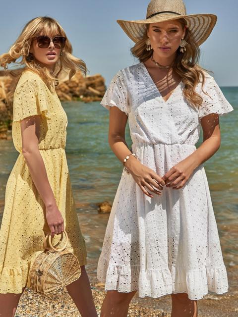 Белое платье из прошвы с резинкой по талии - 48229, фото 1 – интернет-магазин Dressa