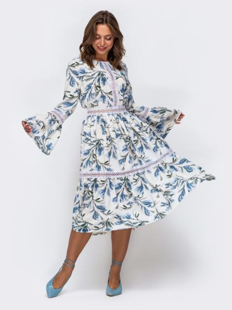 Белое платье из софта с принтом и расклешенной юбкой 50049, фото 1