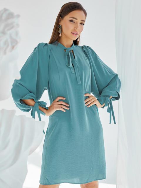 Бирюзовое платье-трапеция с воротником-аскот 50057, фото 1