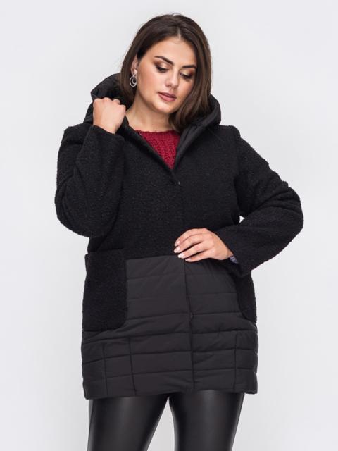 Демисезонная куртка батал из букле с капюшоном черная 50787, фото 1