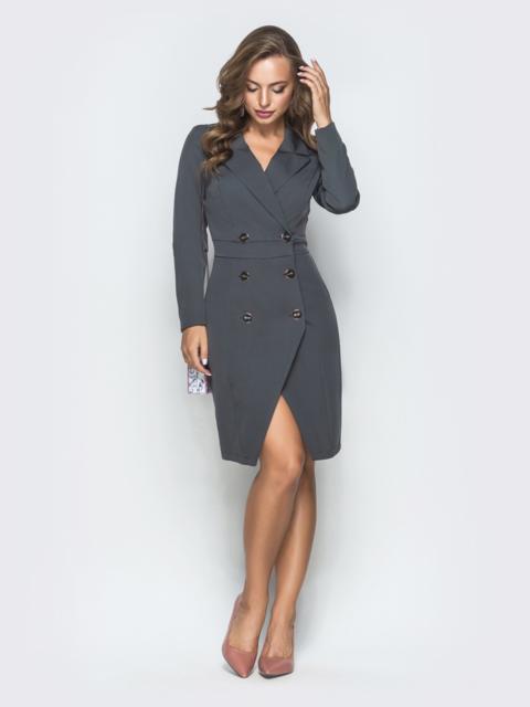 Двубортное платье-пиджак серого цвета - 40011, фото 1 – интернет-магазин Dressa