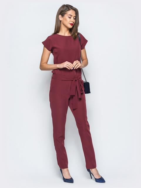 Комбинезон бордового цвета с поясом в комплекте - 17845, фото 1 – интернет-магазин Dressa