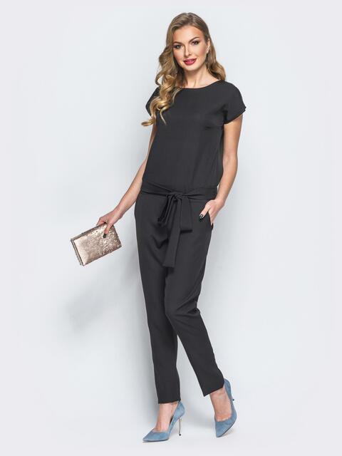 Комбинезон черного цвета с поясом в комплекте - 17846, фото 1 – интернет-магазин Dressa