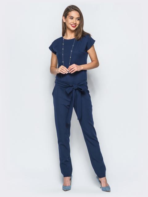Комбинезон тёмно-синего цвета с поясом в комплекте - 17844, фото 1 – интернет-магазин Dressa