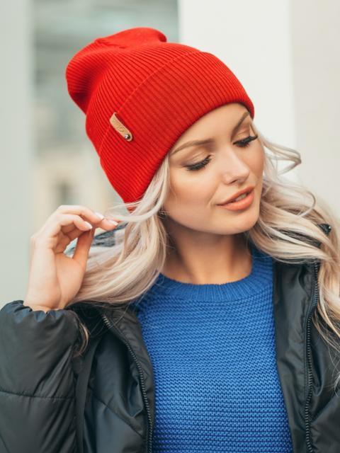 Красная демисезонная шапка с подворотом 50538, фото 1