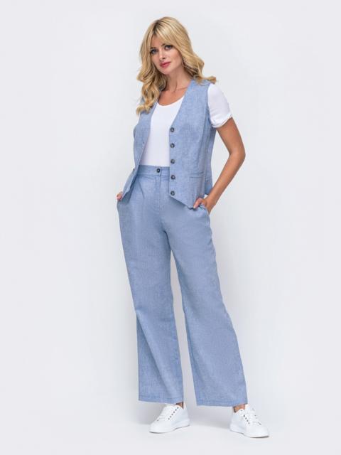 Льняной комплект из жилета и широких брюк голубой 50060, фото 1