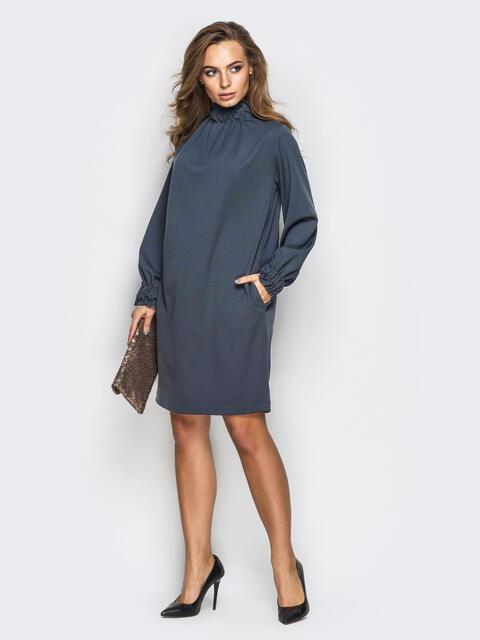 Платье oversize с резинкой по горловине тёмно-серое - 13515, фото 1 – интернет-магазин Dressa