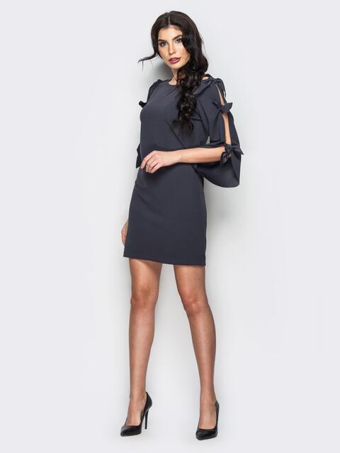 Тёмно-серое платье с завязками на рукавах - 13518, фото 1 – интернет-магазин Dressa