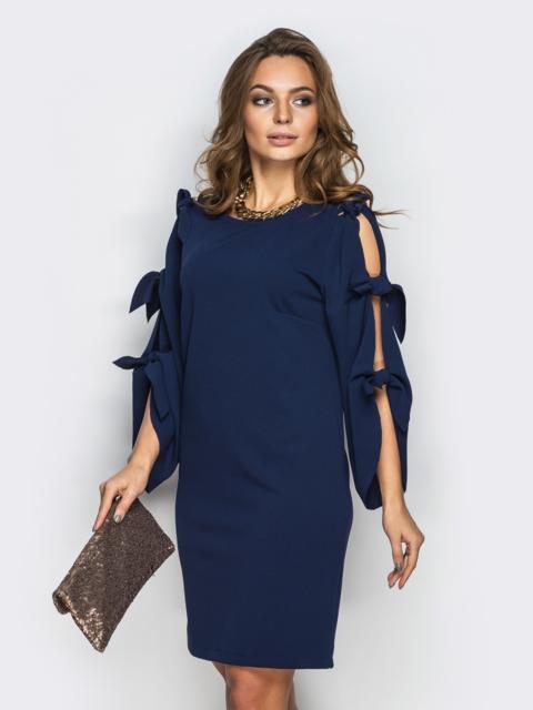 Тёмно-синее платье с завязками на рукавах - 13519, фото 1 – интернет-магазин Dressa