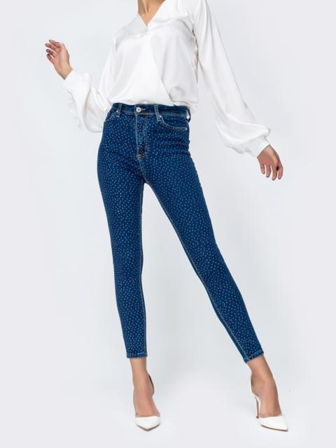 Укороченные джинсы со стразами синие - 44059, фото 1 – интернет-магазин Dressa