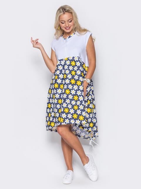 Яркое платье с удлиненной спинкой и цветочным принтом в ромашки - 11118, фото 1 – интернет-магазин Dressa