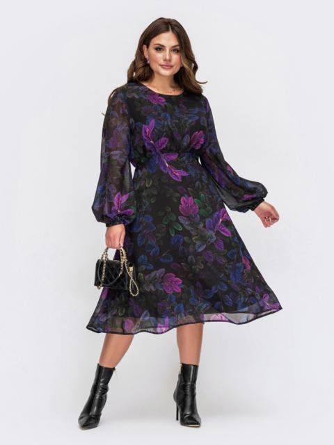 Шифоновое платье батал с принтом и завышенной талией черное 55561, фото 1