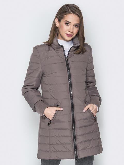Бежевая куртка с манжетами из кашемира и воротником - 20230, фото 1 – интернет-магазин Dressa