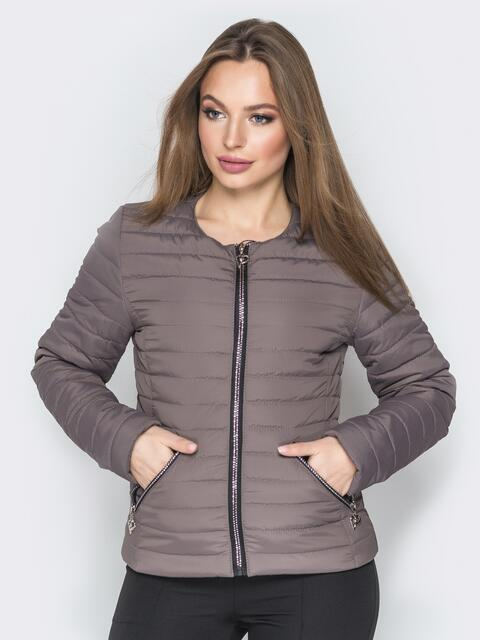 Куртка из плащевки с карманами на молнии бежевая - 20232, фото 1 – интернет-магазин Dressa