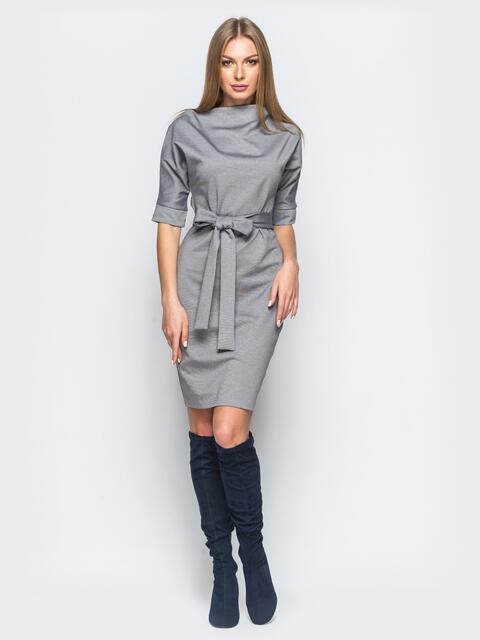 Платье серого цвета с цельнокроеным рукавом 17423, фото 1