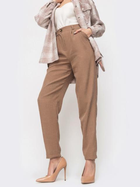 Прямые брюки коричневого цвета с завышенной талией 45891, фото 1