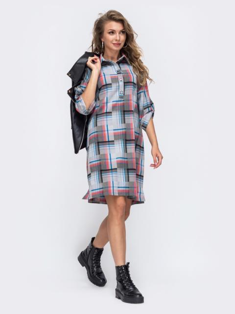 Серое платье-рубашка в клетку 50962, фото 1