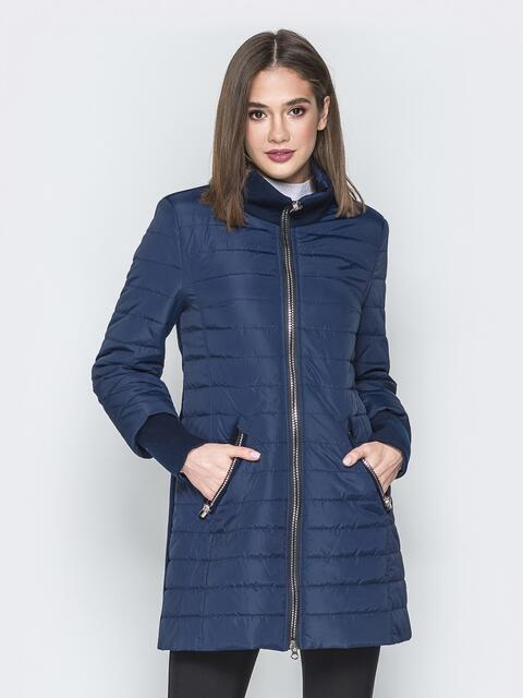 Синяя куртка с манжетами из кашемира и воротником - 20231, фото 1 – интернет-магазин Dressa