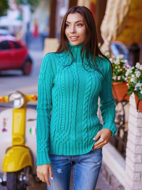Свитер с воротником-стойкой зеленый - 12984, фото 1 – интернет-магазин Dressa