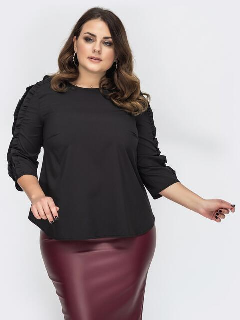 Блузка батал чёрного цвета с гипюровыми вставками 44653, фото 1