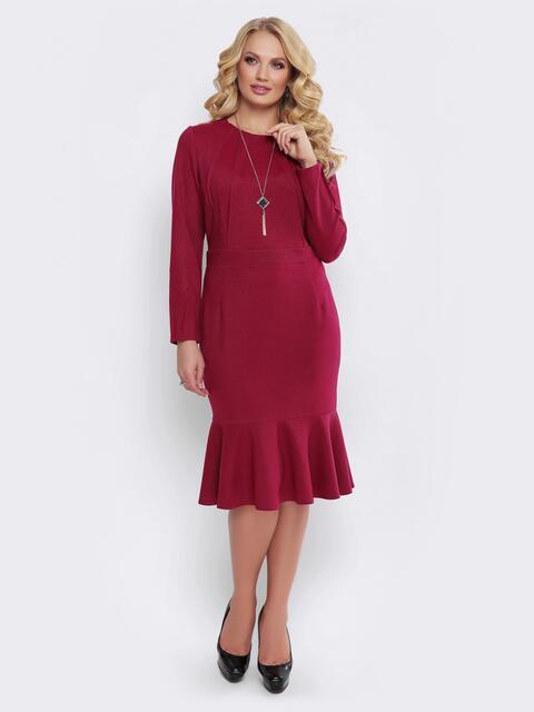 Бордовое платье с юбкой-годе и вшитым поясом - 19524, фото 1 – интернет-магазин Dressa