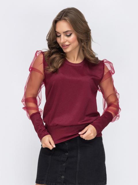 Бордовый джемпер с объемным рукавами из сетки - 43174, фото 1 – интернет-магазин Dressa