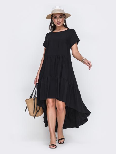 Черное платье батал с воланом и шлейфом - 49718, фото 1 – интернет-магазин Dressa