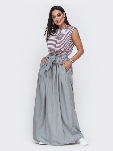 Серое платье батал в пол с лифом в полоску 49715, фото 1