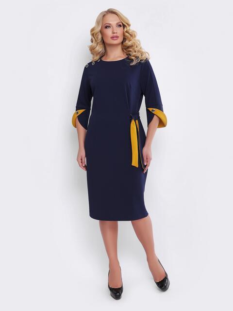 Синее платье с фигурным манжетом и пуговицами - 19529, фото 1 – интернет-магазин Dressa