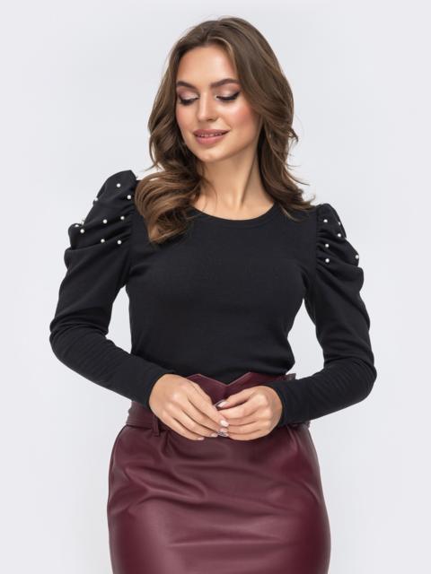Трикотажный джемпер с рукавами-буфами чёрный - 43176, фото 1 – интернет-магазин Dressa