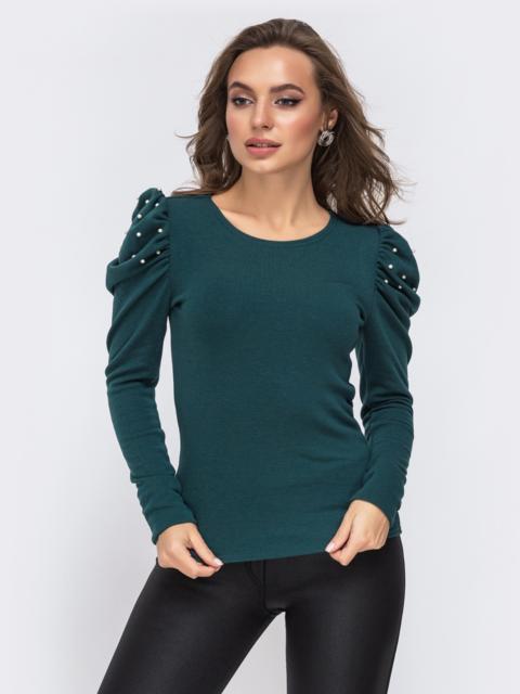 Трикотажный джемпер с рукавами-буфами зелёный - 43178, фото 1 – интернет-магазин Dressa