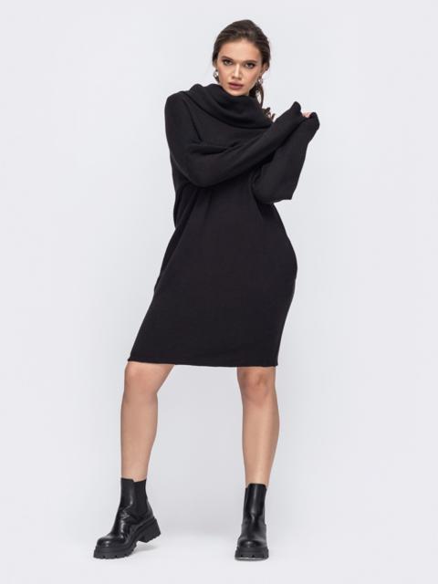 Черное платье батал свободного кроя с воротником 51333, фото 1