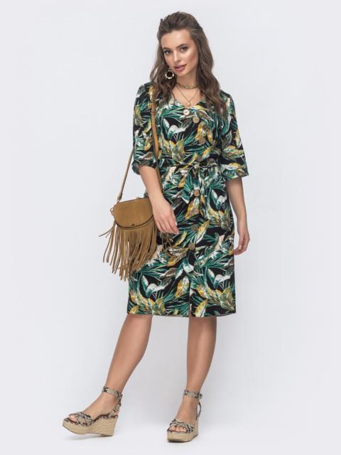 Платье с принтом и вшитыми завязками по бокам зеленое 46600, фото 1