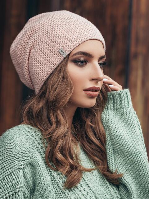 Розовая шапка-колпак двойной вязки 15411, фото 1