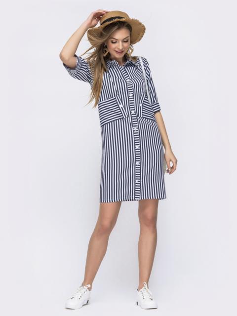 Тёмно-синее платье-рубашка в полоску 47296, фото 1