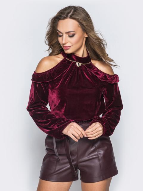 Велюровая кофта бордового цвета с открытыми плечами - 17985, фото 1 – интернет-магазин Dressa
