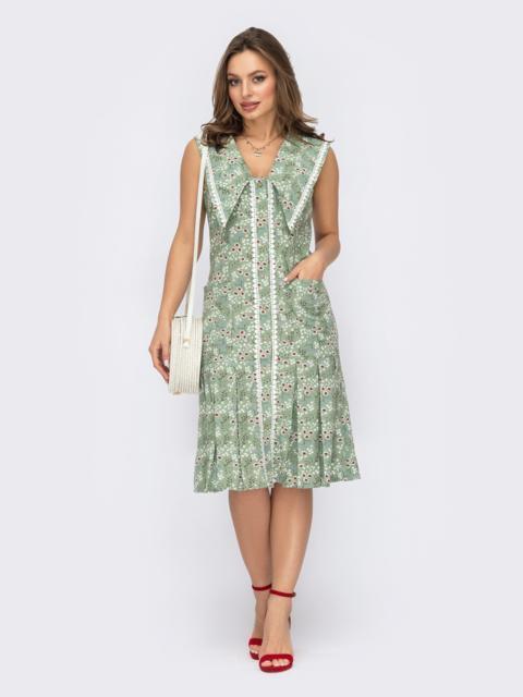 Зеленое платье с принтом со встречными складками и воротником 53757, фото 1