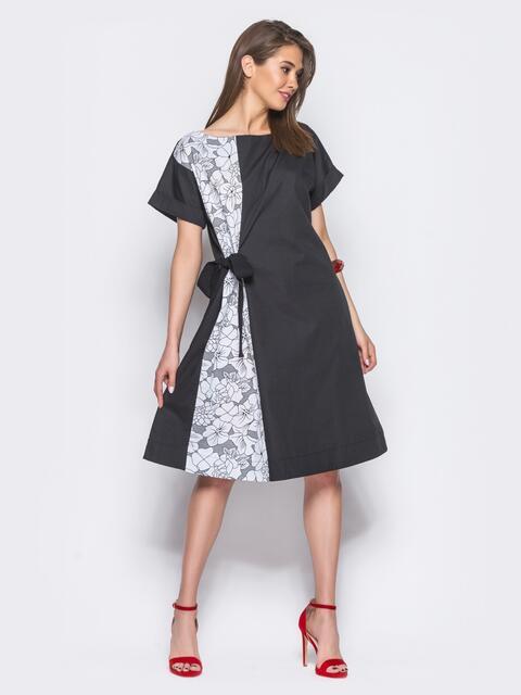 Платье с карманами в боковых швах и поясом-бантом в комплекте - 11144, фото 1 – интернет-магазин Dressa