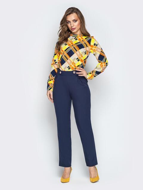 Синий комплект из блузки с геометрическим принтом и брюк - 20888, фото 1 – интернет-магазин Dressa