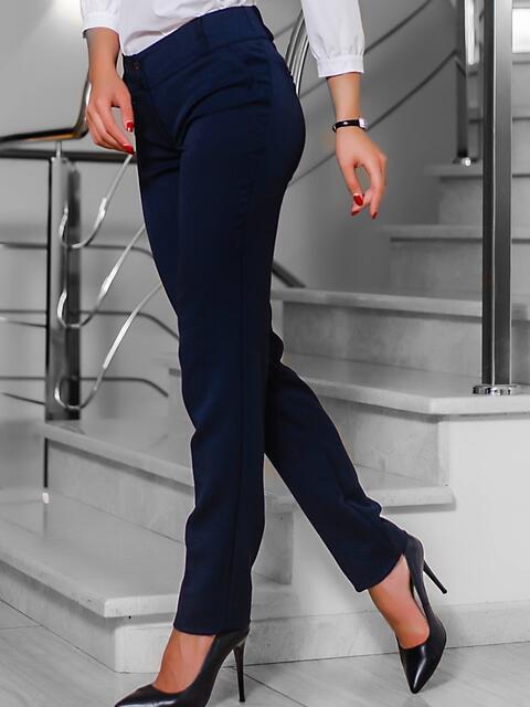 Тёмно-синие брюки с втачным поясом 10299, фото 1