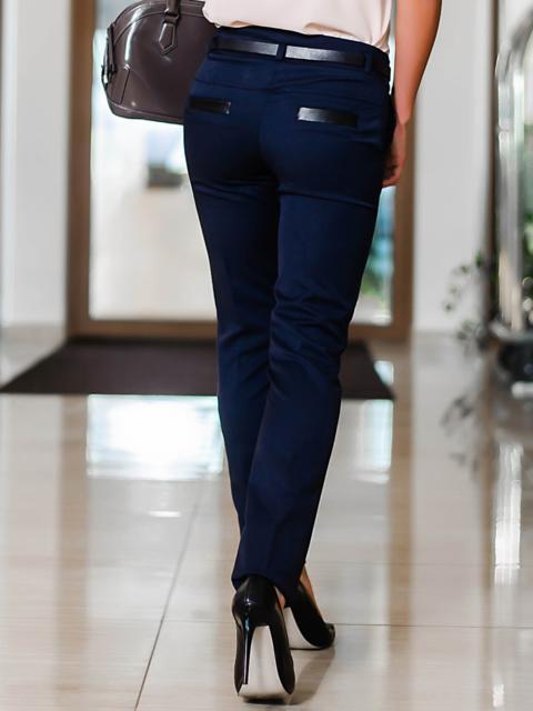 Тёмно-синие брюки со шлёвками для пояса - 10297, фото 1 – интернет-магазин Dressa