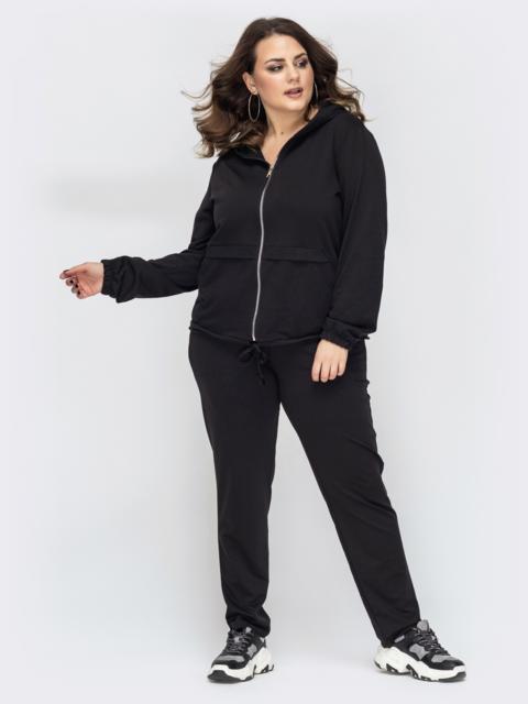 Спортивный костюм большого размера чёрный 44495, фото 1