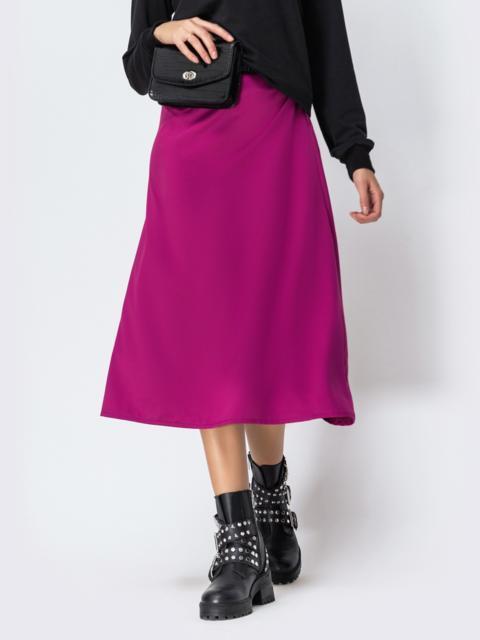 Атласная юбка-трапеция малинового цвета 42474, фото 1