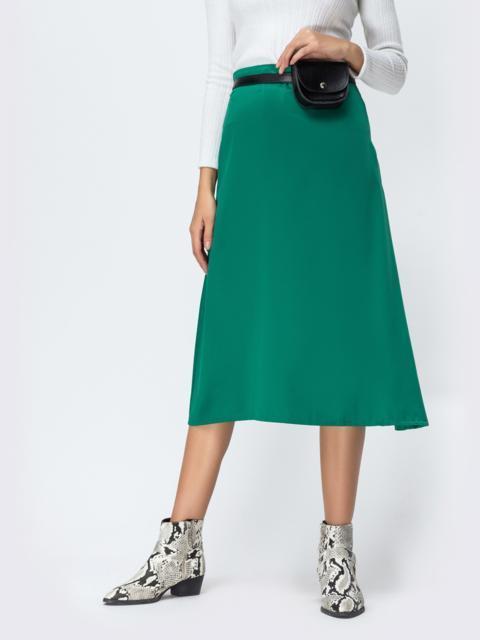 Атласная юбка-трапеция зелёного цвета 42475, фото 1