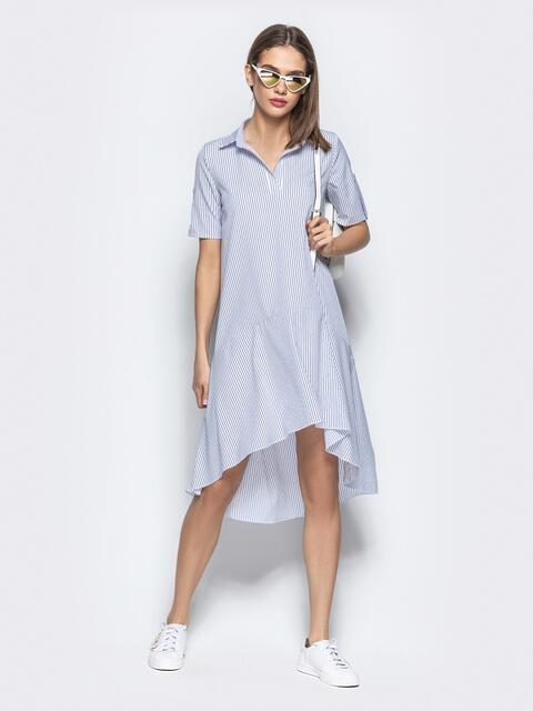 2c3a0950aff Белое платье-рубашка в полоску с асимметричным воланом - 21546