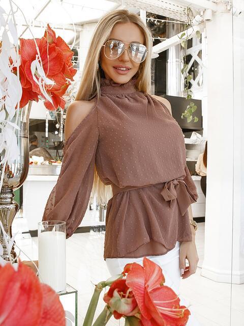 Бежевая блузка с открытыми плечами - 48001, фото 1 – интернет-магазин Dressa