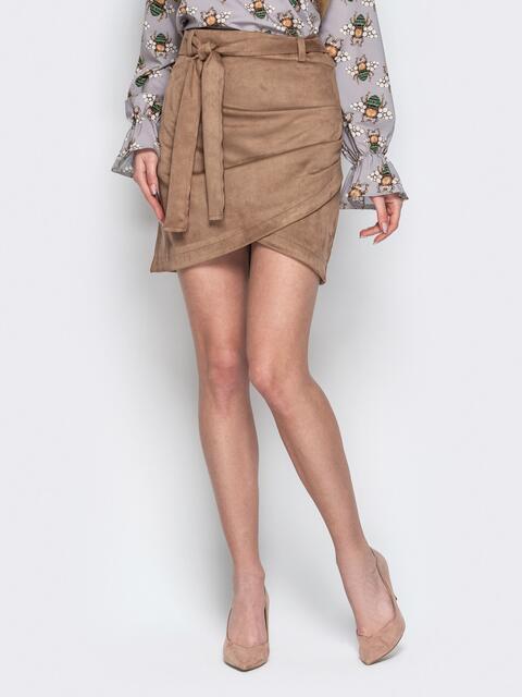 Бежевая юбка-тюльпан из замши с поясом - 20735, фото 1 – интернет-магазин Dressa
