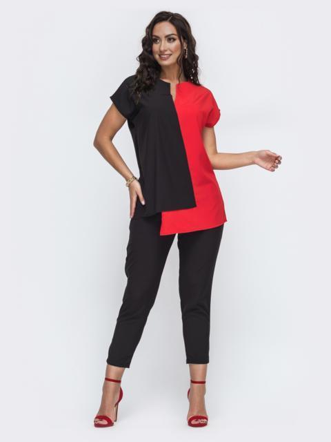 Брючный комплект батал с комбинированной блузкой красный 49917, фото 1