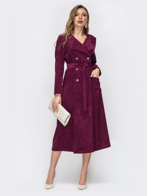Двубортное платье приталенного кроя бордовое 44857, фото 1