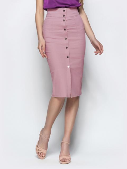 Хлопковая юбка-карандаш на кнопках пудровая - 22050, фото 1 – интернет-магазин Dressa